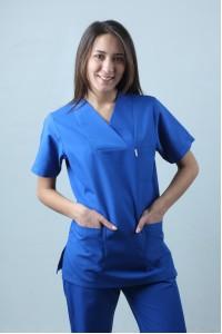 Zarf Yaka Cerrahi Kesim Hemşire Forması Tek Üst