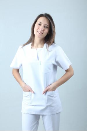 W Yaka Cerrahi Kesim Hemşire Forması Tek Üst