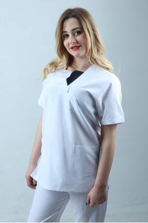 W Yaka Cift Renk Hemşire Forması Nöbet Takımı