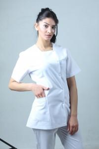Kare Yaka Ceket Boy Hemşire Forması Önlük Tek Üst